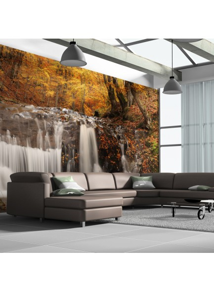 Fotobehang XXL - Autumn landscape: waterfall in forest