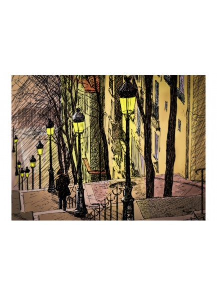 Fotobehang - Lonely walk through Montmartre
