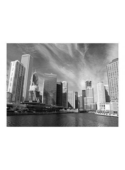 Fotobehang - Chicago skyline (zwart-wit)