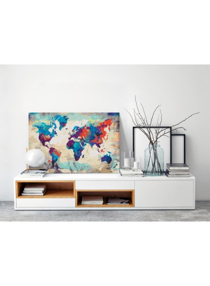 Schilderijen kit - World Map (Blue & Red)