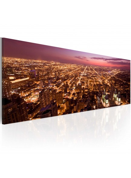 Foto schilderij - Canvas print - Flight over Chicago