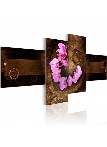 Foto schilderij - Orchid and wood