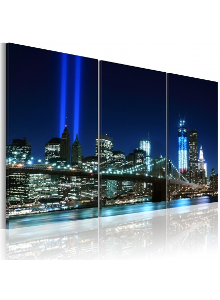 Foto schilderij - Blue lights in New York