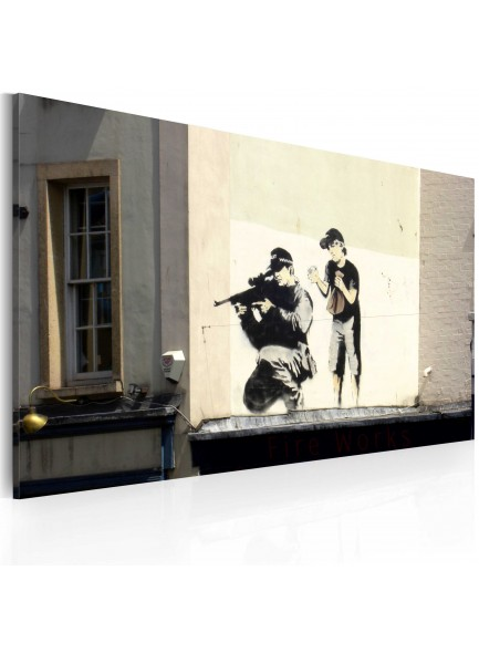 Foto schilderij - Sniper and boy (Banksy)