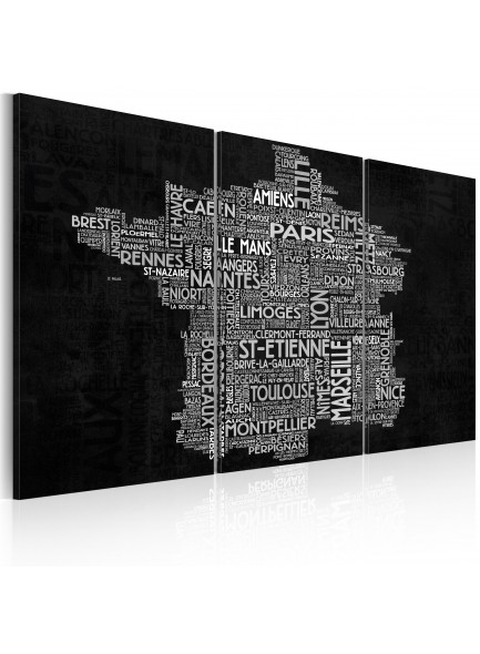 Foto schilderij - Text map of France on the black background - triptych