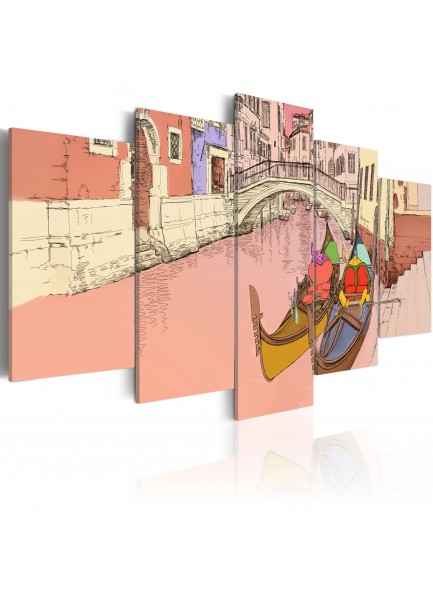 Foto schilderij - Romantic gondolas - 5 pieces