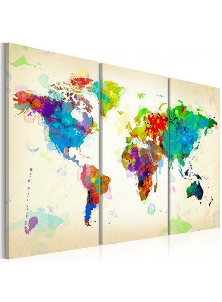 Foto schilderij - All colors of the World - triptych
