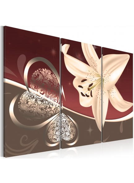 Foto schilderij - Abstraction with lily - triptych
