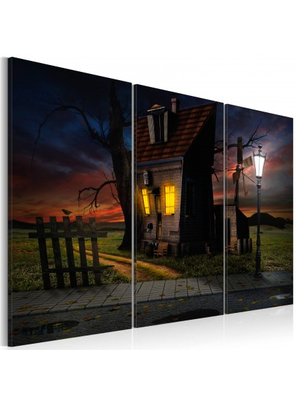 Foto schilderij - Haunted house - triptych