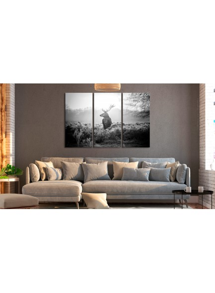 Foto schilderij - Black and White Deer I