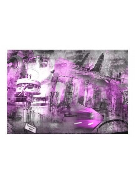 Fotobehang - Berlin - collage (violet)
