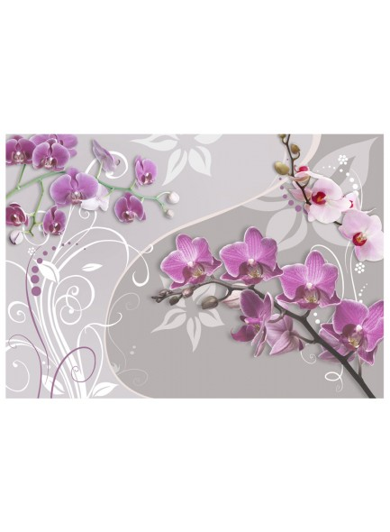 Fotobehang - Flight of purple orchids