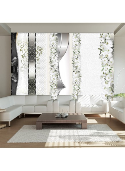 Fotobehang - Parade of orchids in shades of gray