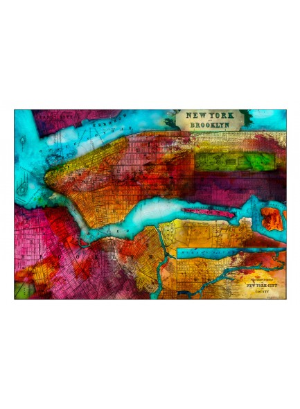Fotobehang - Northern portion of new york city - map